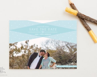 SAVE THE DATE - Modern Plaid Aqua Dot Patterned Photo Save the Date Cards by Sincerely, Jackie