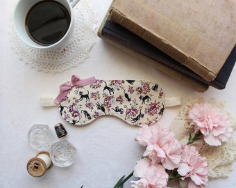 Little Black Cat Japanese Cotton Sleep Mask Eye Pillow with Dusty Rose and Blue Flowers Handmade by Ohhh Lulu