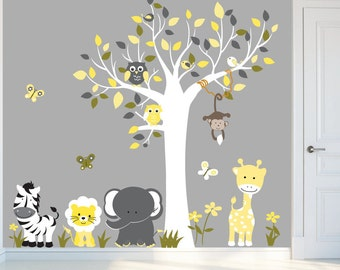 peel and stick decal, yellow and grey nursery, wall decals, tree wall stickers. wall art stickers, baby wall stickers