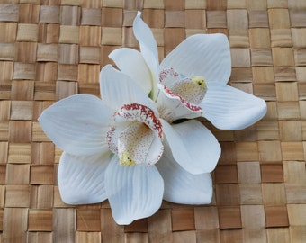 Pin up double cream cymbidium orchid hair flower rockabilly vintage style clip fascinator wedding 50s 40s bride retro