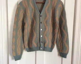 Vintage 1950's 100% Fine Wool Mens Cardigan Sweater looks size Small Anderson Little