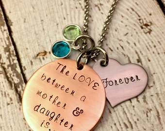 Mother's Day Gift - Mother Daughter jewelry - Hand Stamped Necklace - personalized Gift for Mom - mommy jewelry - necklace set