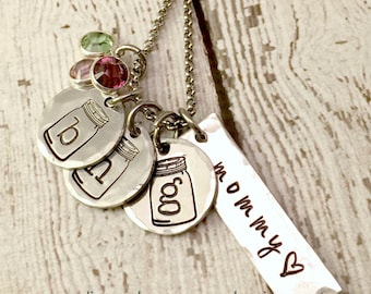 Personalized Necklace Mason Jar - Hand Stamped Jewelry - Mommy Necklace - Initial Charms - Pewter Necklace - Birthstone Crystals - Children