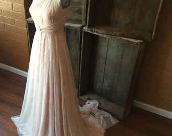 Peaches and Cream- Triple Layer Lace and Chiffon with Chiffon Straps and Train~ Octopus Infinity Wrap Wedding Gown