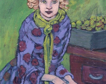 "ORIGINAL Acrylic Painting -""Little Green Apples""- 8 x 10- Woman,Apples,Wall Art,Room decor,Fine Art,handpainted,by artist Patty Fleckenstein"