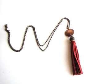 burgundy red tassel & coin necklace . long necklace . boho relic jewelry . coin necklace . fringe necklace