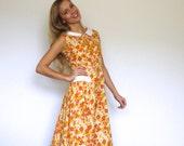 60s Orange Yellow Floral Button Up Shirtwaist House Dress xxs xs
