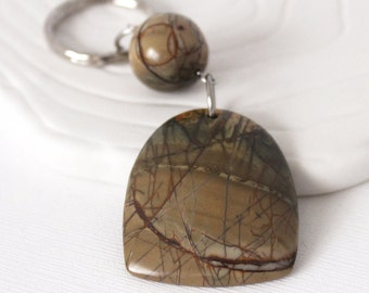 Picasso Jasper Keychain - Woodland Style, Hammered Look Round Steel Keyring, Browns and Steel Gray
