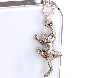 Cat Phone Charm - Climbing Kitty Charm, Silver Plated Pewter, Chainmaille Chain, Dust Plug Charm
