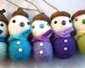 Felt ball acorn snowman Christmas tree ornament set of 5 blue and purple mix