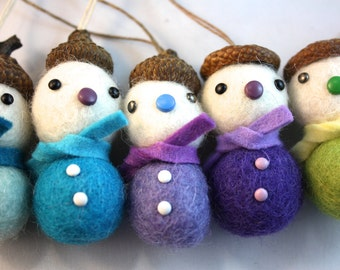 Felt ball acorn snowman Christmas tree ornament set of 5 blue and purple mix