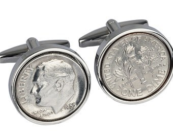 1955 Cufflinks - Ideal 62st Birthday Present - 1955 coin -   Includes presentation box - 100% satisfaction - 3 day delivery option