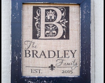 Burlap print, burlap monogram, burlap wedding, burlap frame, personalized family name sign, monogram gift, wedding gift, framed print