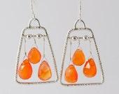 Artisan Carnelian Briolette, Sherbert orange, Sterling Silver Earrings, Sterling Dangle Earrings