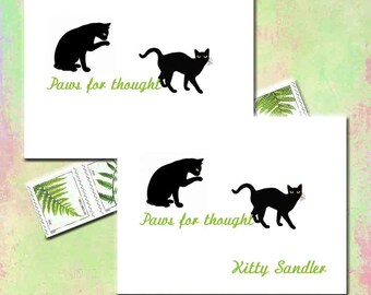 Cat Note Cards, Personalized for Cat Lover, Feline Note Cards, Paws For Thought, Custom Note Cards, Black Cats, Blank Inside, Set of Ten