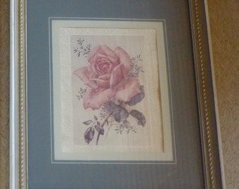 Vintage Pink Rose Print 1940 Floral Lithograph Framed Print Reverse Painting on Glass Matts Blue Grey White Frame Rope Detail Home Decor