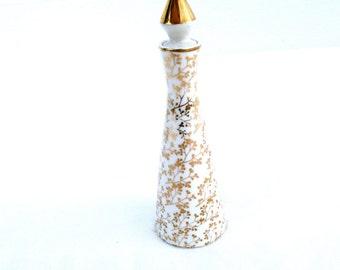Vintage Porcelain Bottle Japan White Gold Flower Design