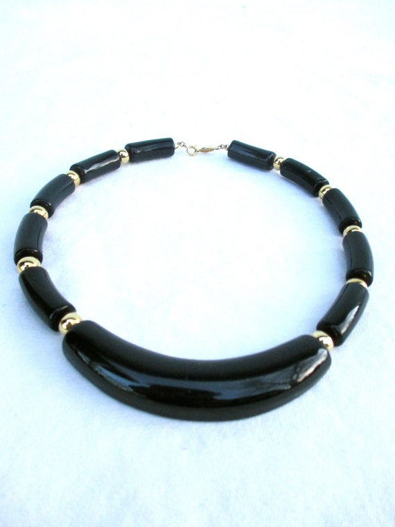 Vintage Napier Necklace Black Gold Design Jewelry 1980 80s