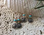 Petite Sand Dollar Earrings Sterling Silver              Natural Gemstones Beach Ocean Sea Shell Sand Dollar turquoise birthstone surf dive