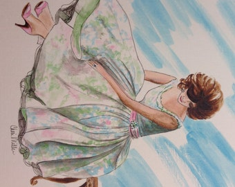 Fashion Illustration, Original Artwork, Painting of Girl, Vintage Fashion, Painting of Dress, Fifties Girl, Vintage Illustration.