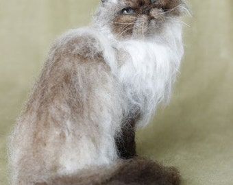 Needle felted long haired cat, custom portrait of your pet