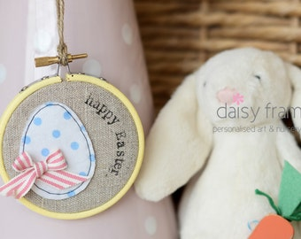 Easter egg decor, happy easter, hand embroidered hoop