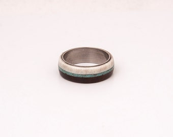 turquoise mens ring mens wedding band wood and antler with titanium and turquoise