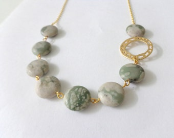 Green white  gems necklace