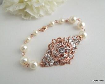 Rose Gold Bracelet,Rose Gold Rhinestone Cuff,Ivory Or White Pearls,Pearl and Rhinestone Wedding Bracelet,Bridal Jewelry,Pearl,Rose,ROSELANI