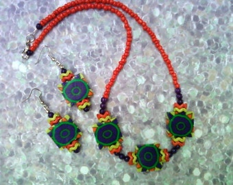 Purple, Orange, Chartreuse and Emerald Green Necklace and Earrings (1601)