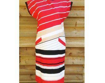G.Pasquier 80s French Vtg nude red black stripes dress