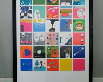 A-Z of the little things in life - A1 litho poster print