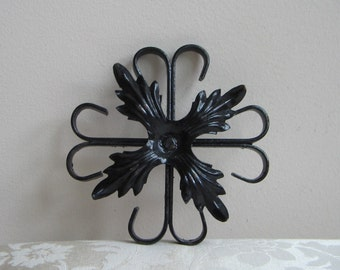 SALE Vintage Black Iron Metal Wall Art With Fleur de Lis, Goth Steampunk Metalware Salvage Assemblage Supplies