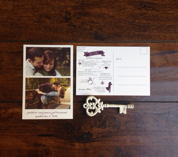 Couples Love Story Save the Date Postcard, Infograph Love Story Postcard, Photo Save the Date Postcard, Calligraphy Purple
