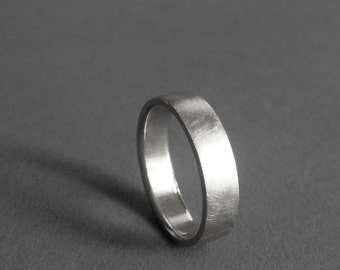 Sterling Silver Ring - 5mm Wide Ring - Matte Brushed Finish - Unisex Recycled Sterling Silver Ring - Comfort Fit Ring - Made to Order