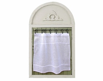 Custom White X Large Sheer Linen Panel, Kitchen Window Curtain, French Linen Cafe Curtain, European Style