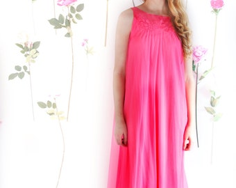 Neon Kiss, Vintage, Betsy Johnson Hot Pink Maxi Dress, from Paris