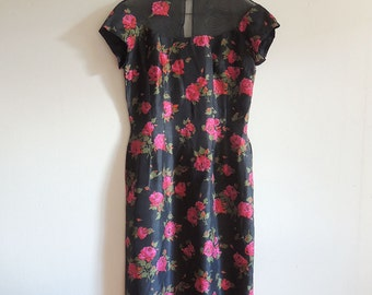 1950's Silk Black and Red Rose Wiggle Dress with Illusion Neckline