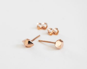 Desert Rock Stud Earrings in 14k Rose Gold - Faceted Crystal in solid gold