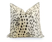 LES TOUCHES //  Linen Pillow Cover - Black and Cream - Animal Pillow - Decorative Pillow - Designer Pillow - More Sizes
