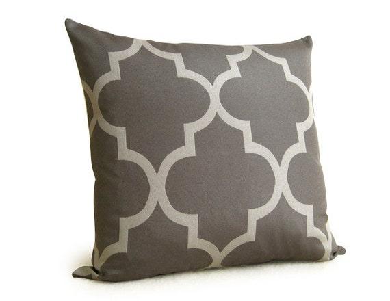 SALE - Morrocan Quatrefoil Lattice Designer Decorative Pillow - 18 inch - Gray - Silver - Charcoal - Designer PIllow - Trellis Pillow