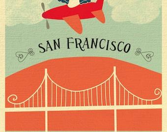 San Francisco Print, SF Nursery Art,  Golden Gate Bridge Print , SF Home Decor, SF Nursery and Child's Art Gift - style E8-O-SF12