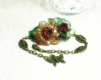 Orange Flower with Green Leaves Hand Dyed Lucite & Brass Bracelet