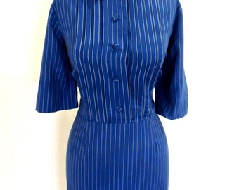 vintage pinstripe dress - 1960s mod collared blue/white dress