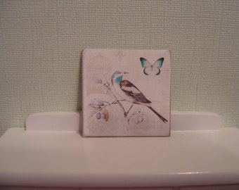 Sign miniature dollhouse bird butterfly one inch scale 1:12