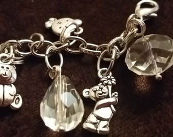 Teddy Bears Picnic Silver Crystal Charm Bracelet adjustable to fit up to 8 inch wrist Bear Charms Extender Chain Fits all Wrist Sizes