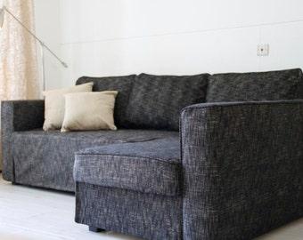 Custom IKEA Manstad Sofa Bed Cover (Snug Fit) in Nomad Black fabric