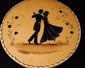 Vintage Shaker Styled Round Wood Box Folk Art Silhouette Dancers ON SALE