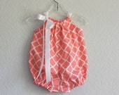 New! Baby Girls Coral Bubble Romper - Coral and White Infant Sun Suit -  Baby Girl Layette - Size 3m, 6m, 9m, 12m or 18m