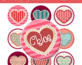 """EDITABLE: Lovely Hearts Bottle Cap 1"""" Circles Images - Frilly Valentine's Day Hearts"""